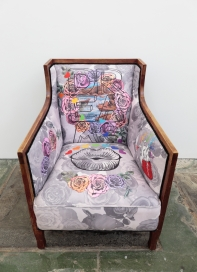 Is being a romantic retro, 2017 Vintage chair, digital printed polyester furniture suede Dimensions 86cm(H) x 62cm(W) x 68cm(D)